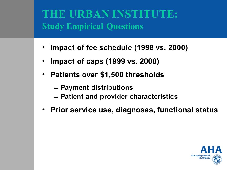 THE URBAN INSTITUTE: Study Empirical Questions Impact of fee schedule (1998 vs.