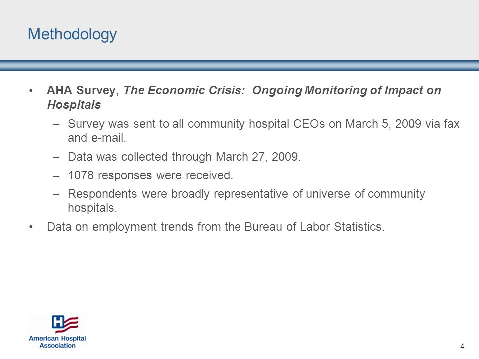 4 Methodology AHA Survey, The Economic Crisis: Ongoing Monitoring of Impact on Hospitals –Survey was sent to all community hospital CEOs on March 5, 2009 via fax and e-mail.