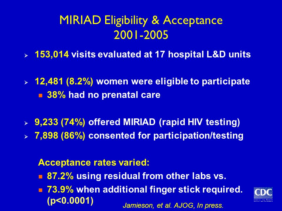 MIRIAD Eligibility & Acceptance 2001-2005 153,014 visits evaluated at 17 hospital L&D units 12,481 (8.2%) women were eligible to participate 38% had no prenatal care 9,233 (74%) offered MIRIAD (rapid HIV testing) 7,898 (86%) consented for participation/testing Acceptance rates varied: 87.2% using residual from other labs vs.