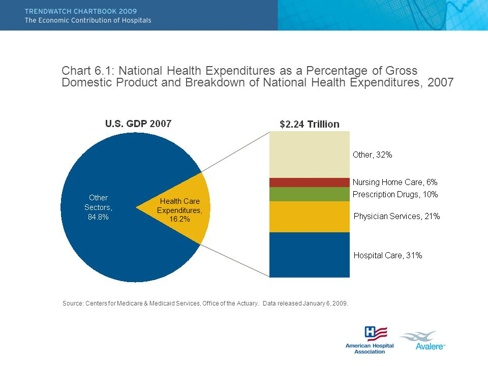 Chart 6.1: National Health Expenditures as a Percentage of Gross Domestic Product and Breakdown of National Health Expenditures, 2007 Source: Centers for Medicare & Medicaid Services, Office of the Actuary.