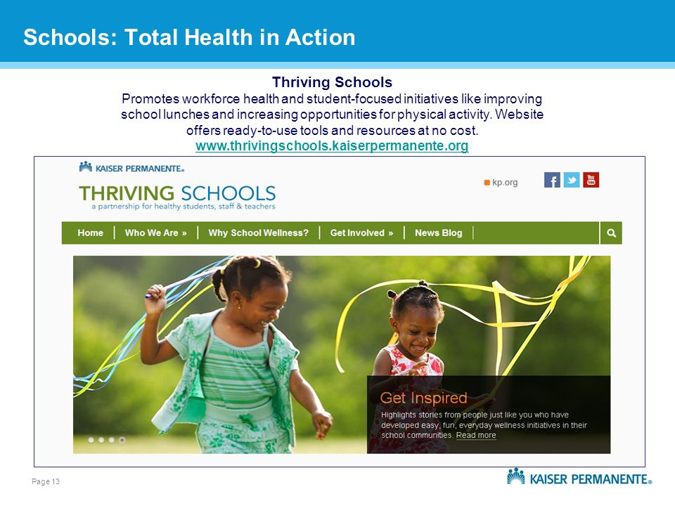 Page 13 Schools: Total Health in Action Thriving Schools Promotes workforce health and student-focused initiatives like improving school lunches and increasing opportunities for physical activity.