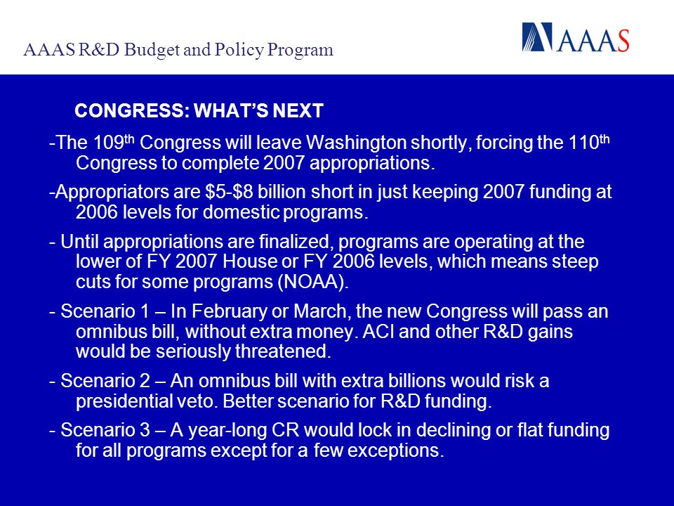 CONGRESS: WHATS NEXT -The 109 th Congress will leave Washington shortly, forcing the 110 th Congress to complete 2007 appropriations.