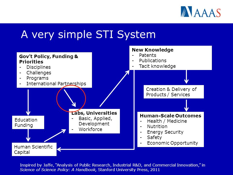 A very simple STI System Govt Policy, Funding & Priorities -Disciplines -Challenges -Programs -International Partnerships Human Scientific Capital Inspired by Jaffe, Analysis of Public Research, Industrial R&D, and Commercial Innovation, in Science of Science Policy: A Handbook, Stanford University Press, 2011 Human-Scale Outcomes -Health / Medicine -Nutrition -Energy Security -Safety -Economic Opportunity Labs, Universities -Basic, Applied, Development -Workforce Education Funding Creation & Delivery of Products / Services New Knowledge -Patents -Publications -Tacit knowledge