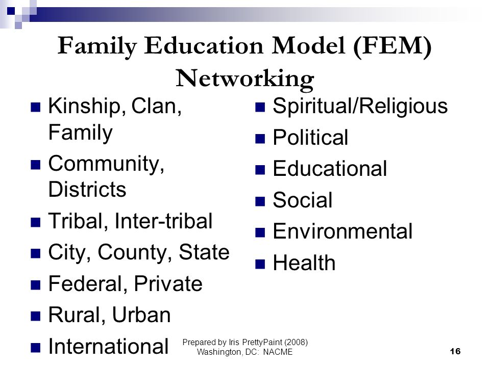 Prepared by Iris PrettyPaint (2008) Washington, DC: NACME16 Family Education Model (FEM) Networking Kinship, Clan, Family Community, Districts Tribal, Inter-tribal City, County, State Federal, Private Rural, Urban International Spiritual/Religious Political Educational Social Environmental Health