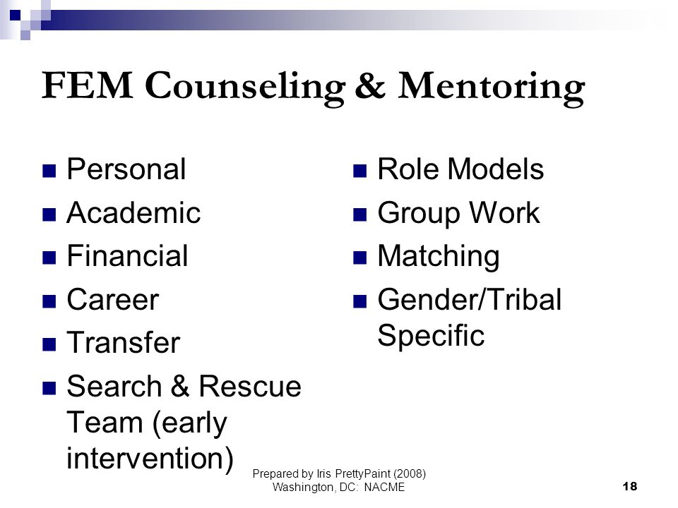 Prepared by Iris PrettyPaint (2008) Washington, DC: NACME18 FEM Counseling & Mentoring Personal Academic Financial Career Transfer Search & Rescue Team (early intervention) Role Models Group Work Matching Gender/Tribal Specific