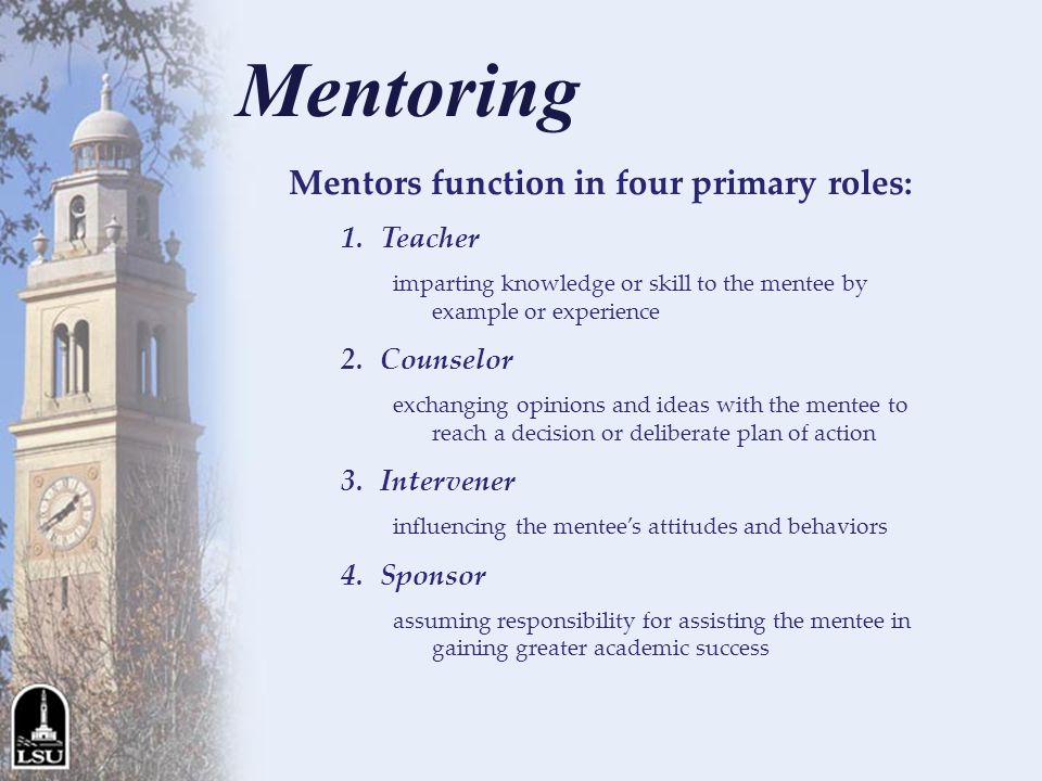 Mentors function in four primary roles: 1.Teacher imparting knowledge or skill to the mentee by example or experience 2.Counselor exchanging opinions and ideas with the mentee to reach a decision or deliberate plan of action 3.Intervener influencing the mentees attitudes and behaviors 4.Sponsor assuming responsibility for assisting the mentee in gaining greater academic success Mentoring