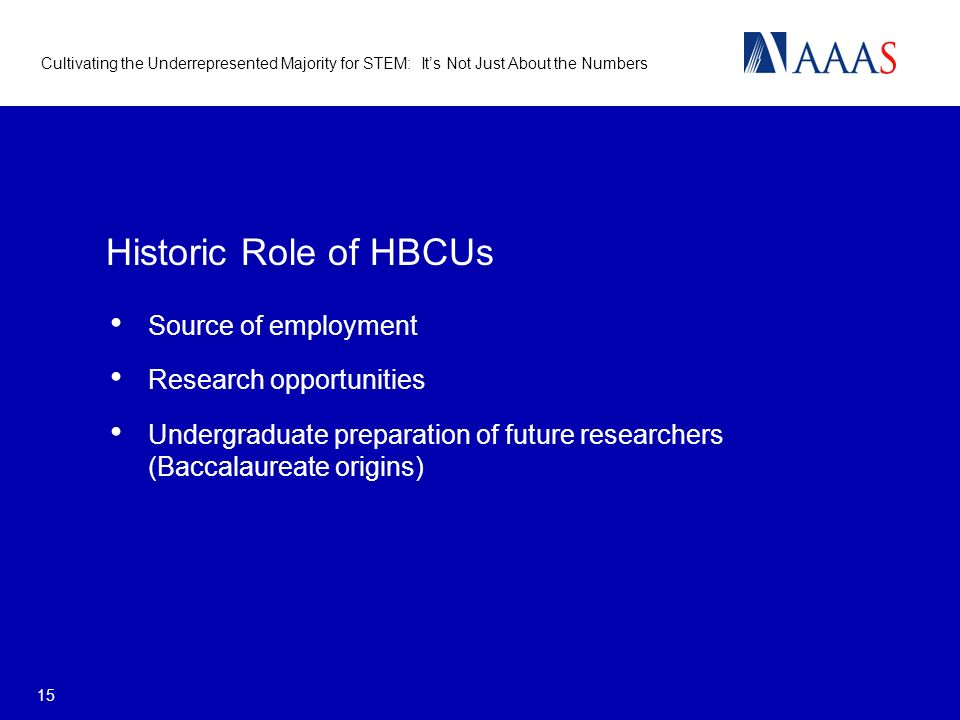 Cultivating the Underrepresented Majority for STEM: Its Not Just About the Numbers 15 Historic Role of HBCUs Source of employment Research opportunities Undergraduate preparation of future researchers (Baccalaureate origins)