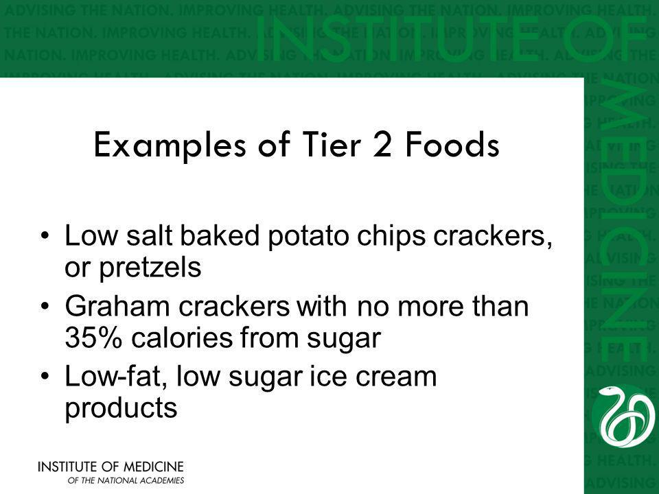 Examples of Tier 2 Foods Low salt baked potato chips crackers, or pretzels Graham crackers with no more than 35% calories from sugar Low-fat, low sugar ice cream products