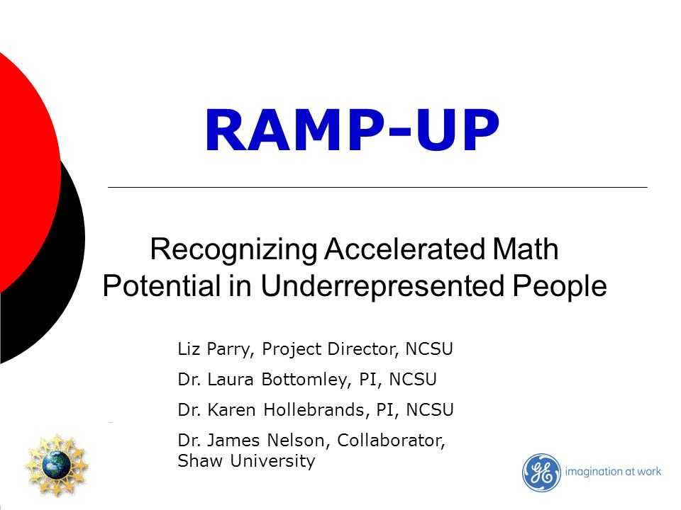 Recognizing Accelerated Math Potential in Underrepresented People RAMP-UP Liz Parry, Project Director, NCSU Dr.