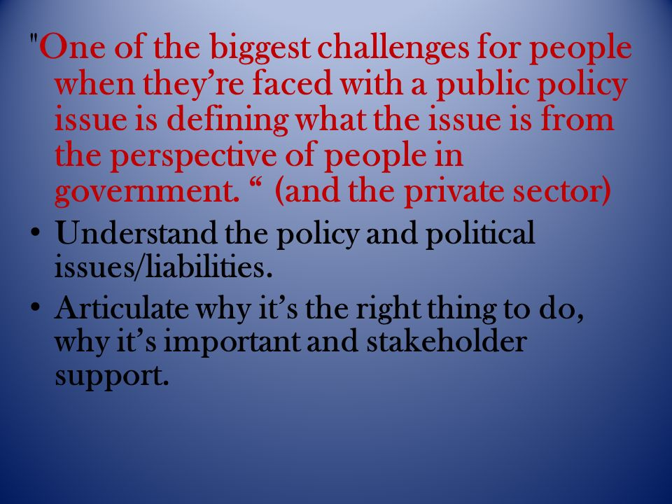 One of the biggest challenges for people when theyre faced with a public policy issue is defining what the issue is from the perspective of people in government.