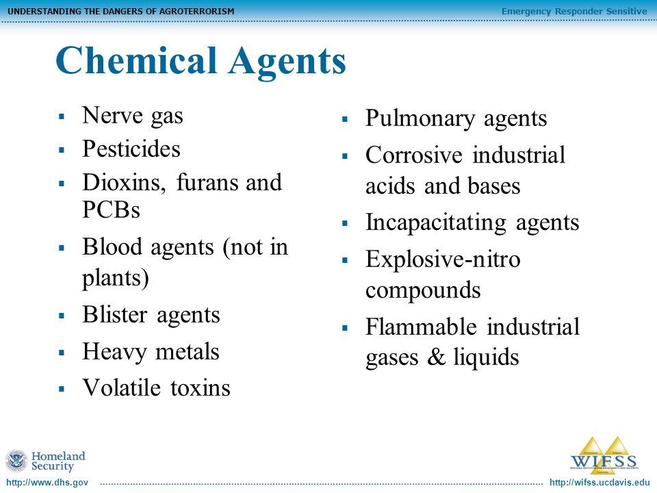 http://wifss.ucdavis.edu Emergency Responder Sensitive UNDERSTANDING THE DANGERS OF AGROTERRORISM http://www.dhs.gov Chemical Agents Nerve gas Pesticides Dioxins, furans and PCBs Blood agents (not in plants) Blister agents Heavy metals Volatile toxins Pulmonary agents Corrosive industrial acids and bases Incapacitating agents Explosive-nitro compounds Flammable industrial gases & liquids