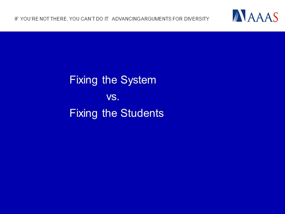 IF YOURE NOT THERE, YOU CANT DO IT: ADVANCING ARGUMENTS FOR DIVERSITY Fixing the System vs.