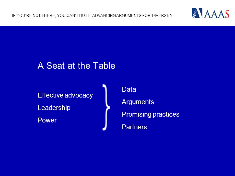 IF YOURE NOT THERE, YOU CANT DO IT: ADVANCING ARGUMENTS FOR DIVERSITY A Seat at the Table Effective advocacy Leadership Power Data Arguments Promising practices Partners