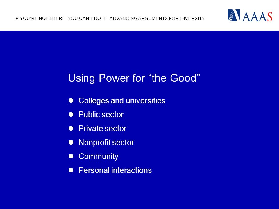 IF YOURE NOT THERE, YOU CANT DO IT: ADVANCING ARGUMENTS FOR DIVERSITY Using Power for the Good Colleges and universities Public sector Private sector Nonprofit sector Community Personal interactions