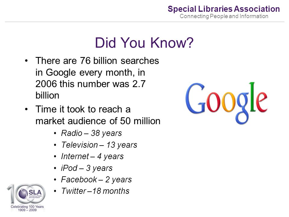 Special Libraries Association Connecting People and Information Did You Know.