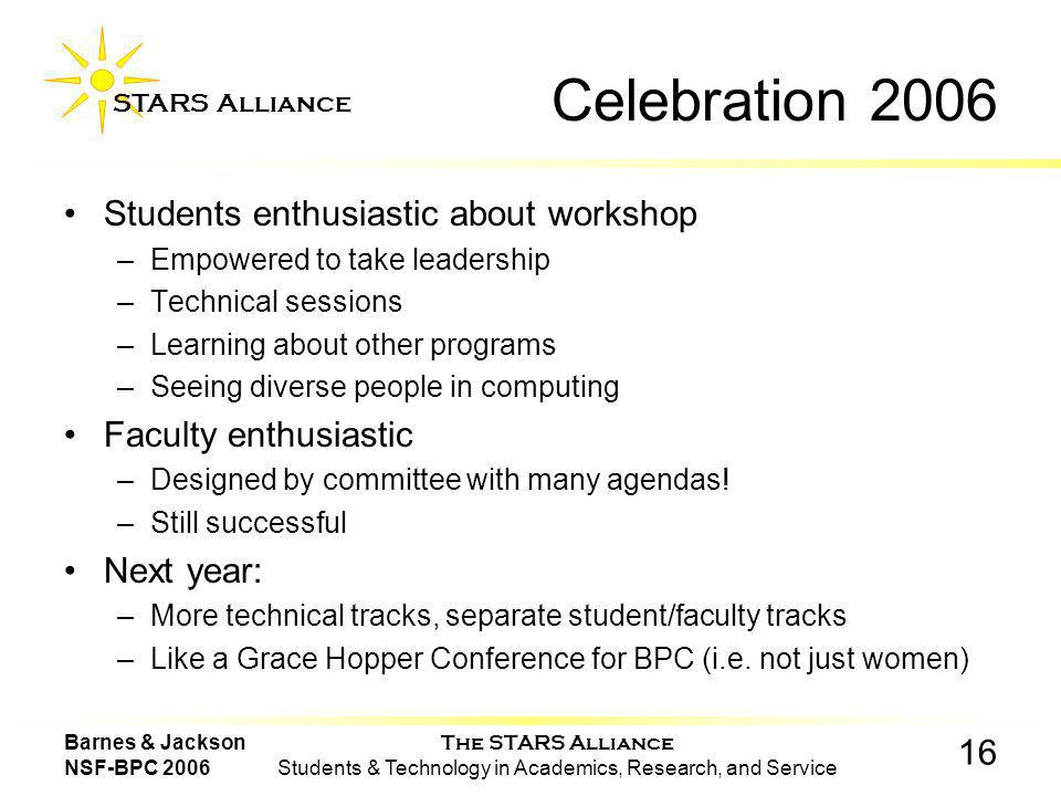 The STARS Alliance Students & Technology in Academics, Research, and Service STARS Alliance 16 Barnes & Jackson NSF-BPC 2006 Celebration 2006 Students enthusiastic about workshop –Empowered to take leadership –Technical sessions –Learning about other programs –Seeing diverse people in computing Faculty enthusiastic –Designed by committee with many agendas.