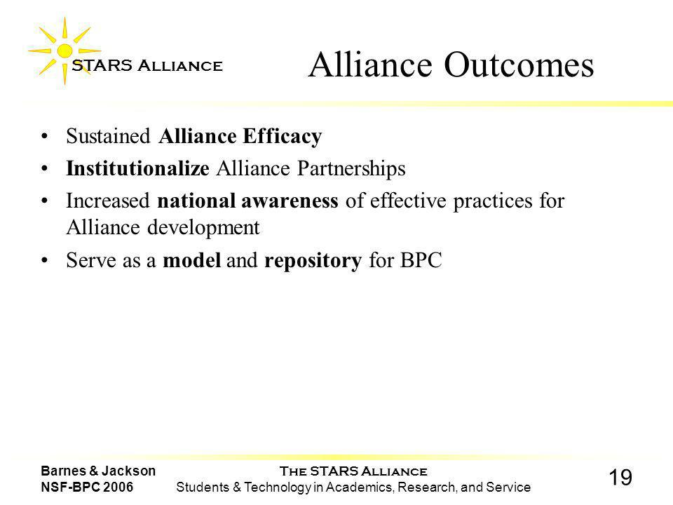 The STARS Alliance Students & Technology in Academics, Research, and Service STARS Alliance 19 Barnes & Jackson NSF-BPC 2006 Alliance Outcomes Sustained Alliance Efficacy Institutionalize Alliance Partnerships Increased national awareness of effective practices for Alliance development Serve as a model and repository for BPC