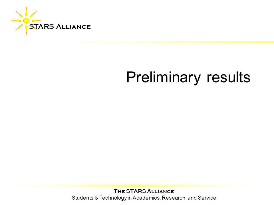 The STARS Alliance Students & Technology in Academics, Research, and Service STARS Alliance Preliminary results