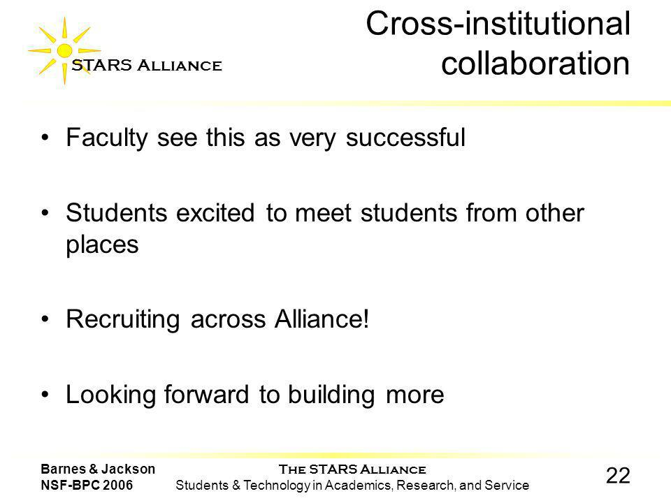 The STARS Alliance Students & Technology in Academics, Research, and Service STARS Alliance 22 Barnes & Jackson NSF-BPC 2006 Cross-institutional collaboration Faculty see this as very successful Students excited to meet students from other places Recruiting across Alliance.
