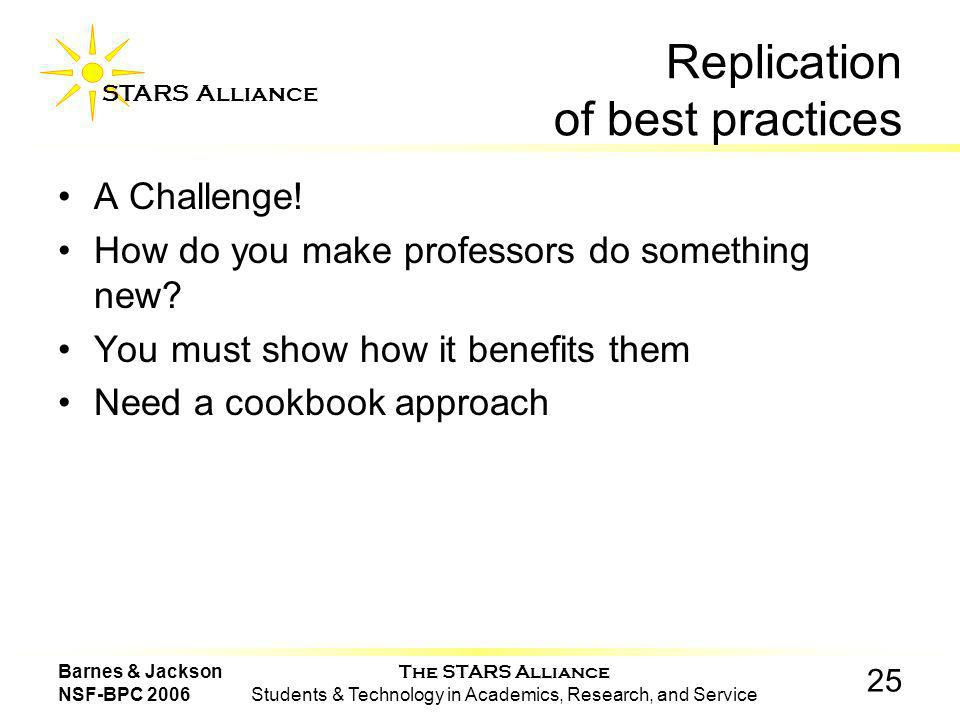 The STARS Alliance Students & Technology in Academics, Research, and Service STARS Alliance 25 Barnes & Jackson NSF-BPC 2006 Replication of best practices A Challenge.