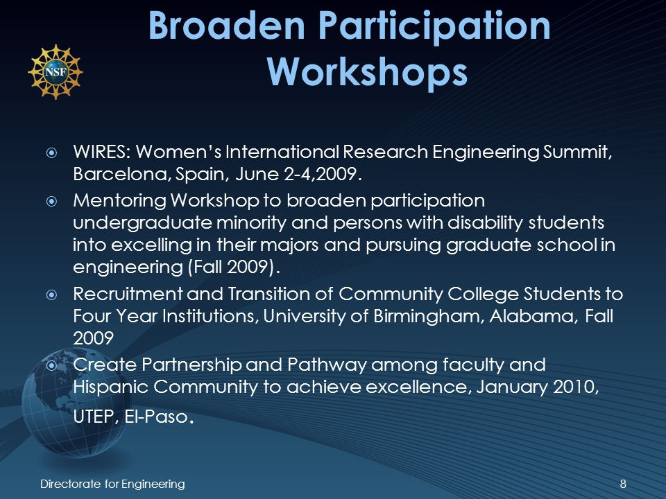 Broaden Participation Workshops WIRES: Womens International Research Engineering Summit, Barcelona, Spain, June 2-4,2009.