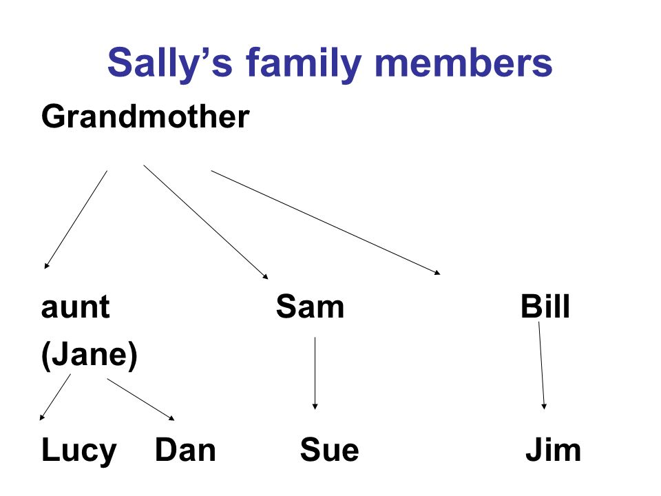 Sallys family members Grandmother aunt Sam Bill (Jane) Lucy Dan Sue Jim