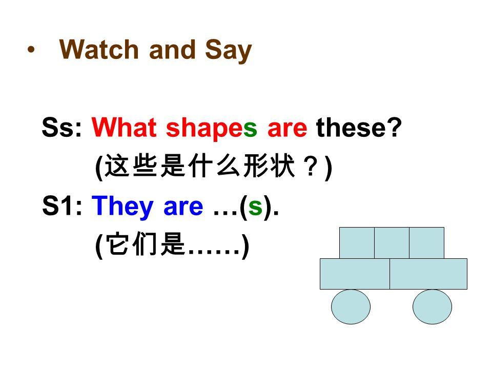 T: What shapes are these ( ) Ss: They are …(s). ( ……)
