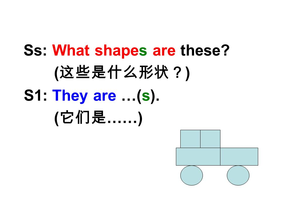 Watch and Say Ss: What shapes are these ( ) S1: They are …(s). ( ……)