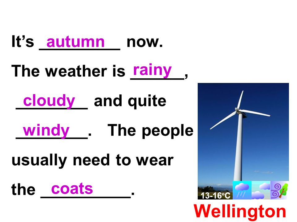 Wellington Its _________ now. The weather is ______, ________ and quite ________.