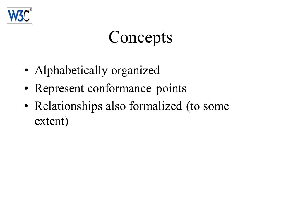Concepts Alphabetically organized Represent conformance points Relationships also formalized (to some extent)
