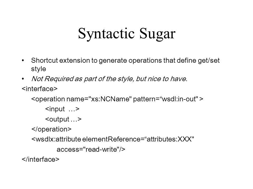 Syntactic Sugar Shortcut extension to generate operations that define get/set style Not Required as part of the style, but nice to have.