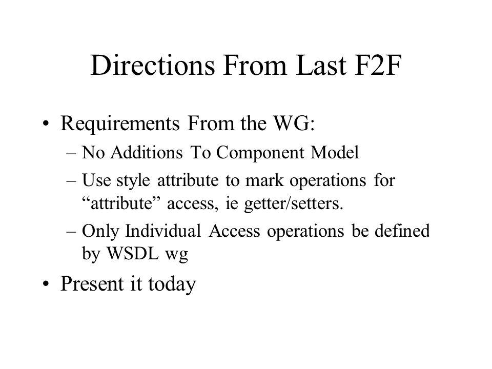Directions From Last F2F Requirements From the WG: –No Additions To Component Model –Use style attribute to mark operations for attribute access, ie getter/setters.