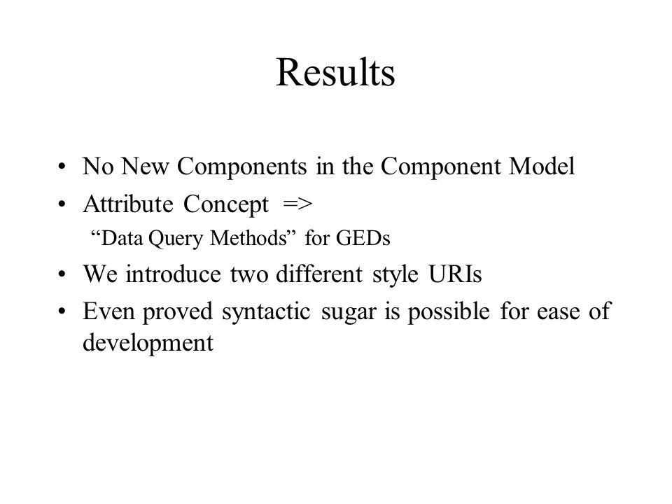 Results No New Components in the Component Model Attribute Concept => Data Query Methods for GEDs We introduce two different style URIs Even proved syntactic sugar is possible for ease of development