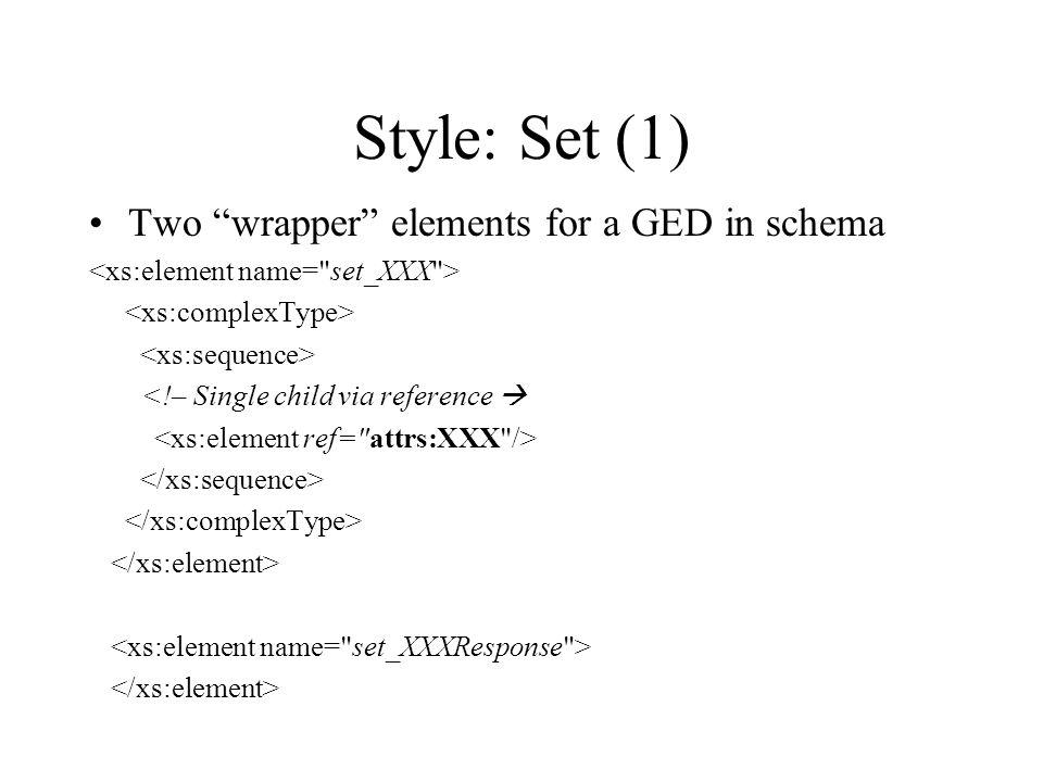 Style: Set (1) Two wrapper elements for a GED in schema <!– Single child via reference