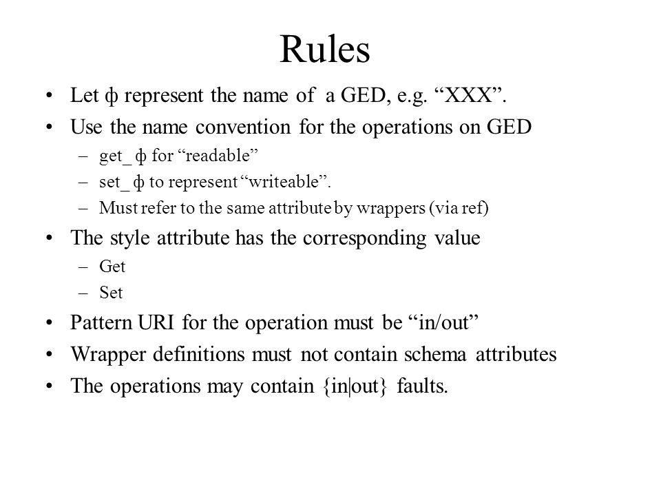 Rules Let ф represent the name of a GED, e.g. XXX.
