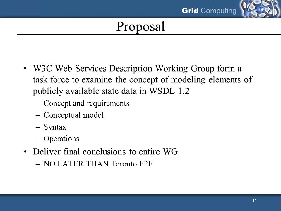 11 Proposal W3C Web Services Description Working Group form a task force to examine the concept of modeling elements of publicly available state data in WSDL 1.2 –Concept and requirements –Conceptual model –Syntax –Operations Deliver final conclusions to entire WG –NO LATER THAN Toronto F2F