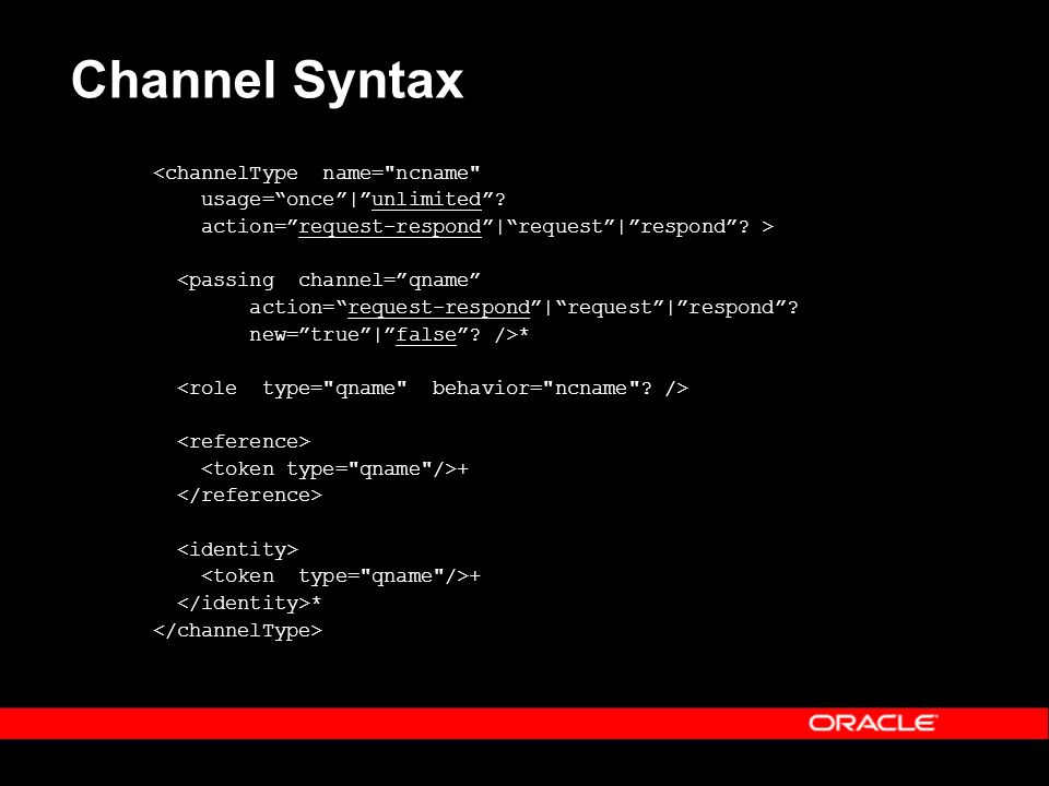 Channel Syntax <channelType name= ncname usage=once|unlimited.