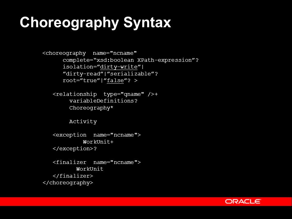 Choreography Syntax <choreography name= ncname complete=xsd:boolean XPath-expression.
