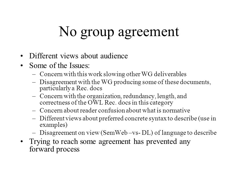 No group agreement Different views about audience Some of the Issues: –Concern with this work slowing other WG deliverables –Disagreement with the WG producing some of these documents, particularly a Rec.