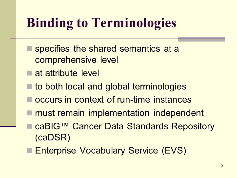 5 Binding to Terminologies specifies the shared semantics at a comprehensive level at attribute level to both local and global terminologies occurs in context of run-time instances must remain implementation independent caBIG Cancer Data Standards Repository (caDSR) Enterprise Vocabulary Service (EVS)