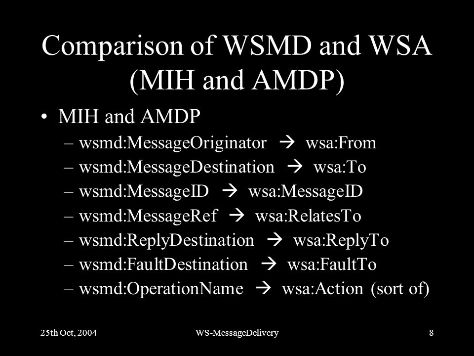 25th Oct, 2004WS-MessageDelivery8 Comparison of WSMD and WSA (MIH and AMDP) MIH and AMDP –wsmd:MessageOriginator wsa:From –wsmd:MessageDestination wsa:To –wsmd:MessageID wsa:MessageID –wsmd:MessageRef wsa:RelatesTo –wsmd:ReplyDestination wsa:ReplyTo –wsmd:FaultDestination wsa:FaultTo –wsmd:OperationName wsa:Action (sort of)