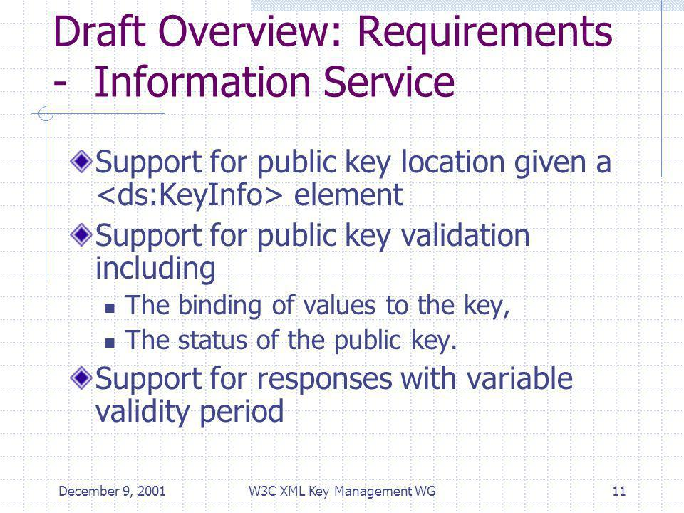 December 9, 2001W3C XML Key Management WG11 Draft Overview: Requirements - Information Service Support for public key location given a element Support for public key validation including The binding of values to the key, The status of the public key.