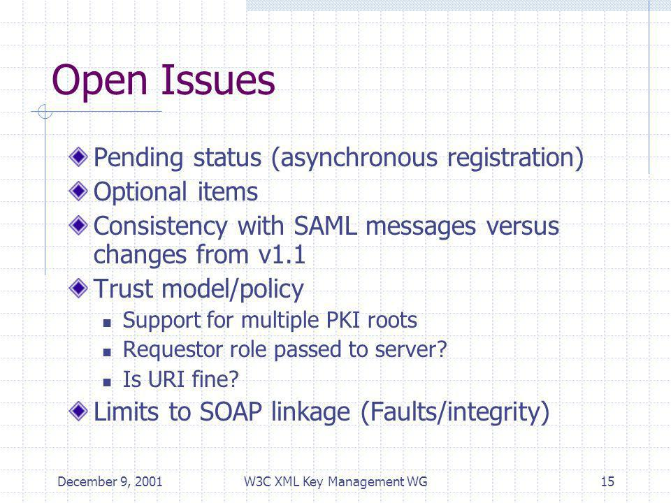 December 9, 2001W3C XML Key Management WG15 Open Issues Pending status (asynchronous registration) Optional items Consistency with SAML messages versus changes from v1.1 Trust model/policy Support for multiple PKI roots Requestor role passed to server.