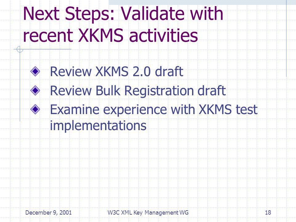 December 9, 2001W3C XML Key Management WG18 Next Steps: Validate with recent XKMS activities Review XKMS 2.0 draft Review Bulk Registration draft Examine experience with XKMS test implementations