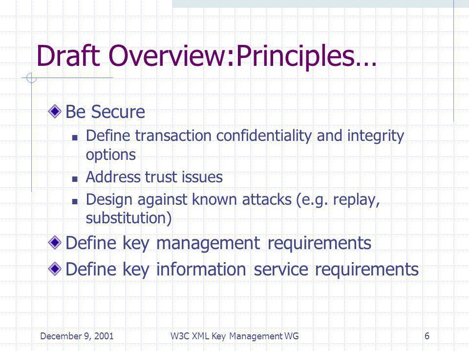 December 9, 2001W3C XML Key Management WG6 Draft Overview:Principles… Be Secure Define transaction confidentiality and integrity options Address trust issues Design against known attacks (e.g.