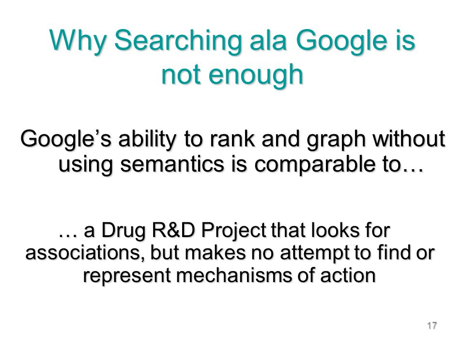 17 Why Searching ala Google is not enough Googles ability to rank and graph without using semantics is comparable to… … a Drug R&D Project that looks for associations, but makes no attempt to find or represent mechanisms of action … a Drug R&D Project that looks for associations, but makes no attempt to find or represent mechanisms of action