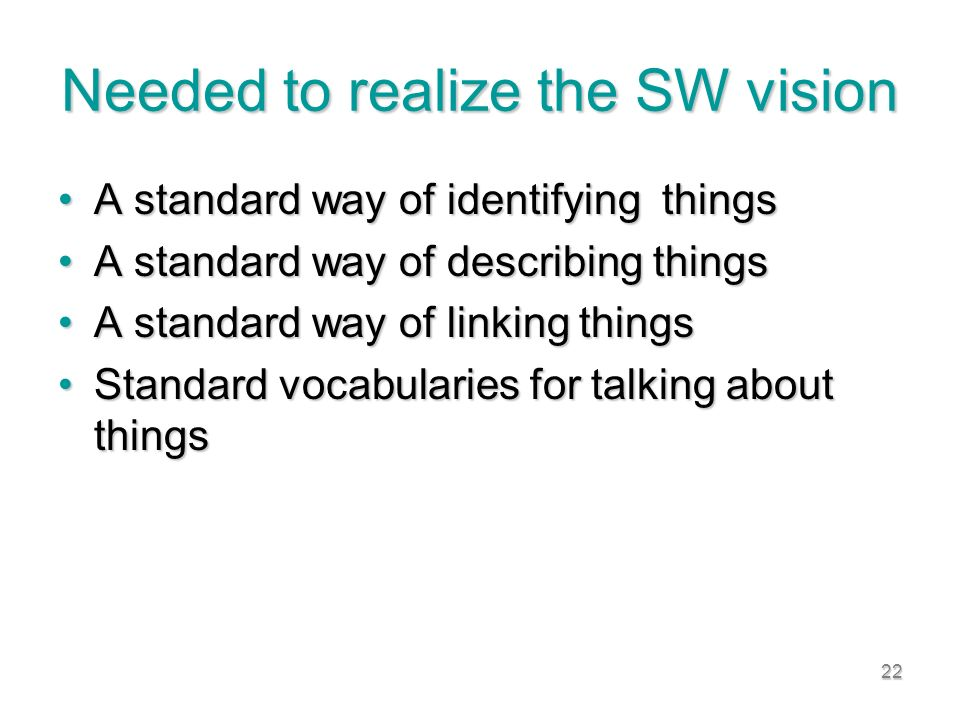 22 Needed to realize the SW vision A standard way of identifying thingsA standard way of identifying things A standard way of describing thingsA standard way of describing things A standard way of linking thingsA standard way of linking things Standard vocabularies for talking about thingsStandard vocabularies for talking about things