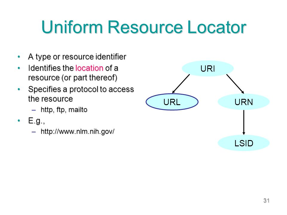 31 Uniform Resource Locator A type or resource identifierA type or resource identifier Identifies the location of a resource (or part thereof)Identifies the location of a resource (or part thereof) Specifies a protocol to access the resourceSpecifies a protocol to access the resource –http, ftp, mailto E.g.,E.g., –http://www.nlm.nih.gov/ URI URL URN LSID