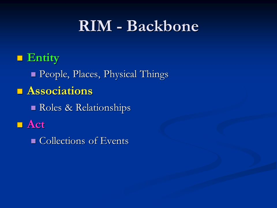 RIM - Backbone Entity Entity People, Places, Physical Things People, Places, Physical Things Associations Associations Roles & Relationships Roles & Relationships Act Act Collections of Events Collections of Events