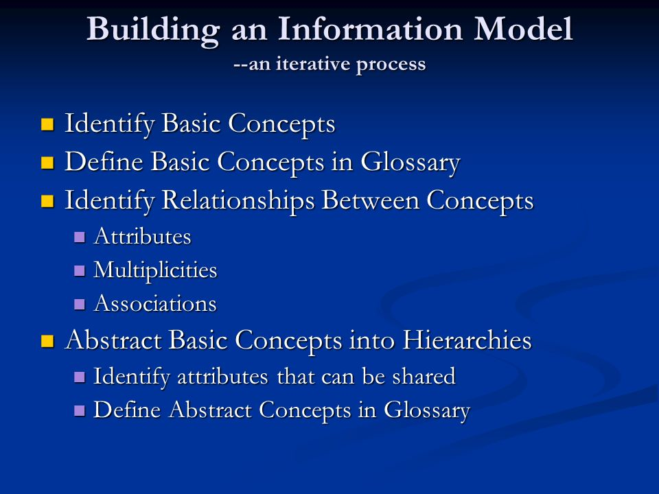 Building an Information Model --an iterative process Identify Basic Concepts Identify Basic Concepts Define Basic Concepts in Glossary Define Basic Concepts in Glossary Identify Relationships Between Concepts Identify Relationships Between Concepts Attributes Attributes Multiplicities Multiplicities Associations Associations Abstract Basic Concepts into Hierarchies Abstract Basic Concepts into Hierarchies Identify attributes that can be shared Identify attributes that can be shared Define Abstract Concepts in Glossary Define Abstract Concepts in Glossary